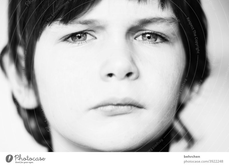 seriously?! Son Black & white photo Day Light Face Earnest Sunlight Boy (child) Family & Relations Infancy Contrast portrait Intensive Child Close-up