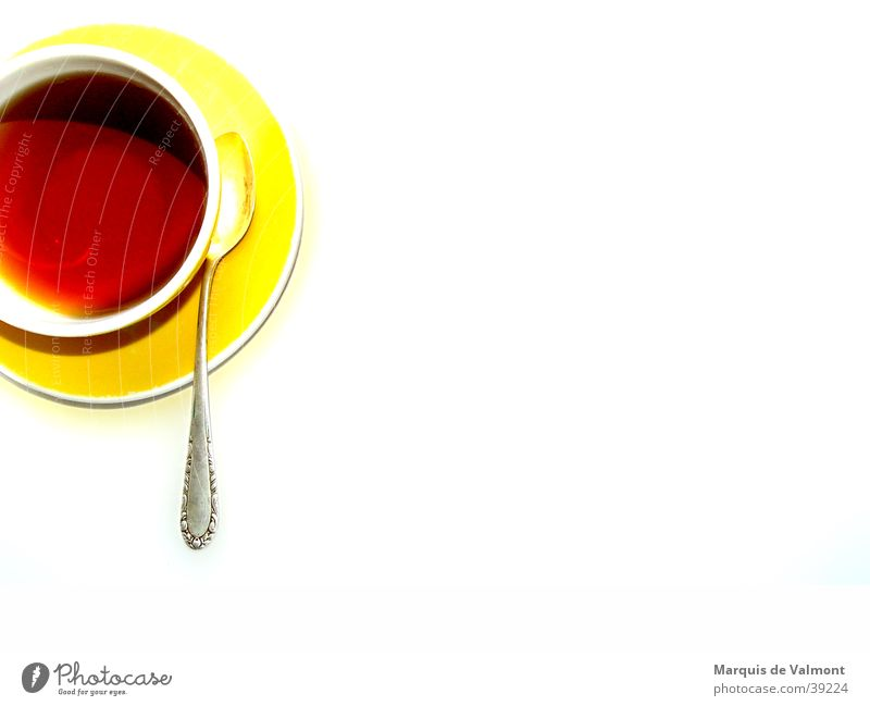 Winter Nutrition Yellow Beverage Tea Hot Cup Set meal Isolated Image Teaspoon