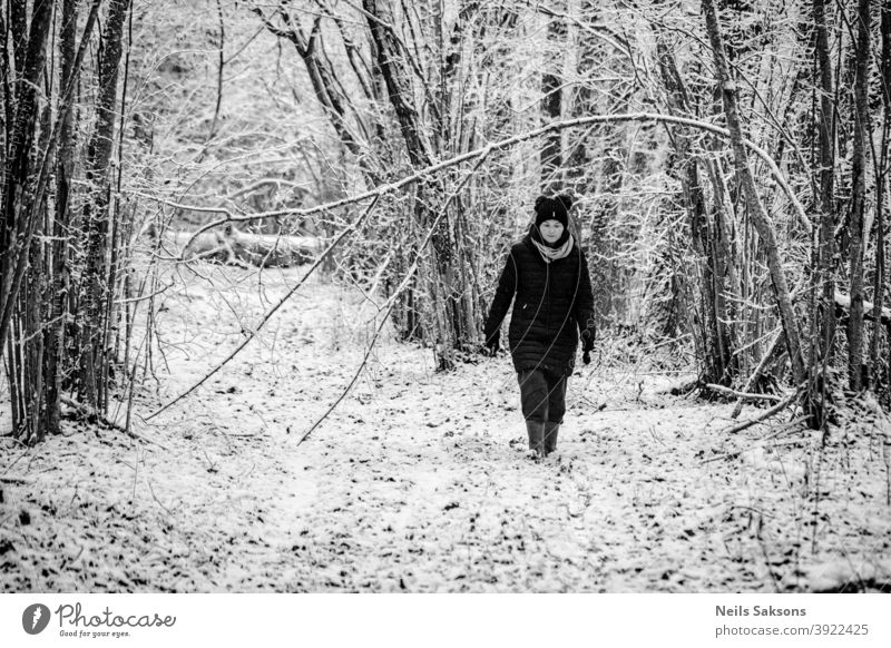 woman walking in woods in winter forest snow Winter Winter forest Cold Tree Nature Landscape trail ice hazelnut bush warm dressed well dressed rubber boots