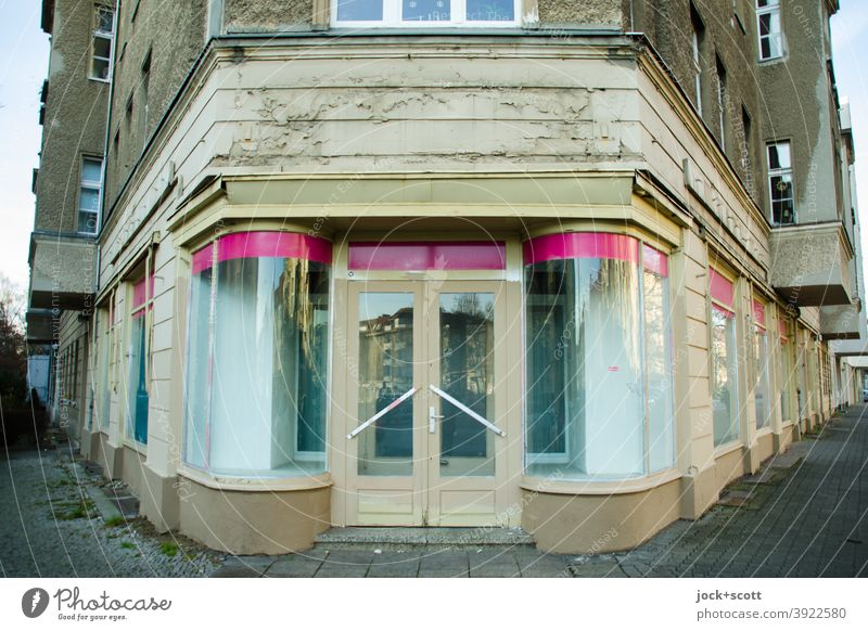 Once upon a time there was a shop for fashion Store premises Facade Vacancy Storefront Retro Ravages of time Sidewalk Past Architecture Style Pankow Corner GDR