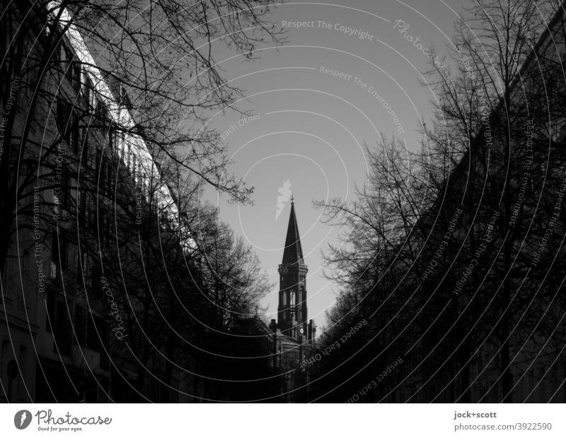 A church in the middle of Mitte Zion Church Downtown Berlin Street bare trees Sky Triangle Silhouette Vanishing point Architecture Dark Target Winter