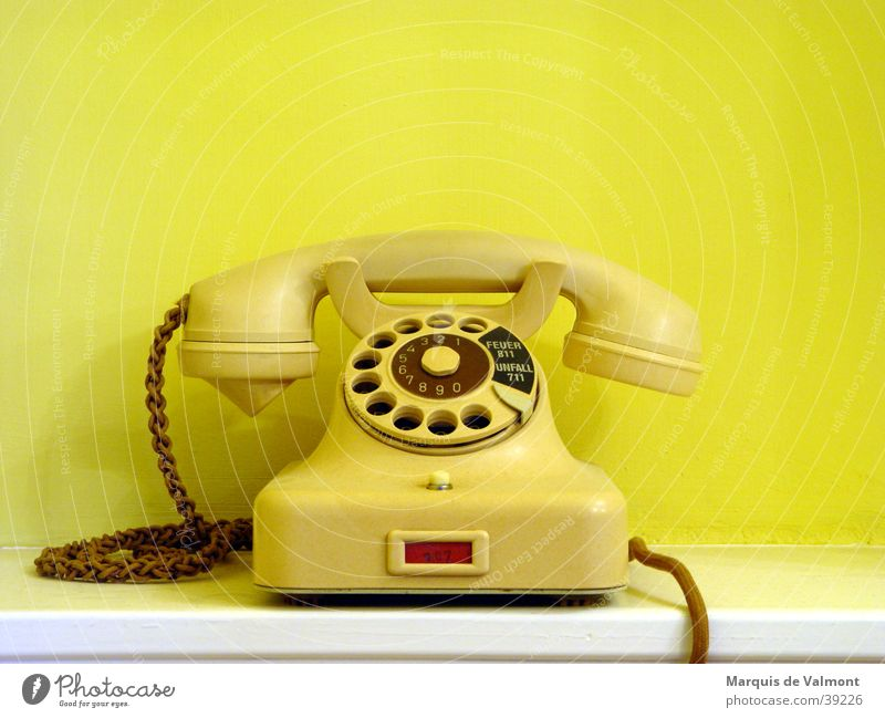 Vienna calling Telecommunications Telephone Cable Technology String Historic Yellow Gadget Rotary dial Connection pre-war Transmission lines Colour photo