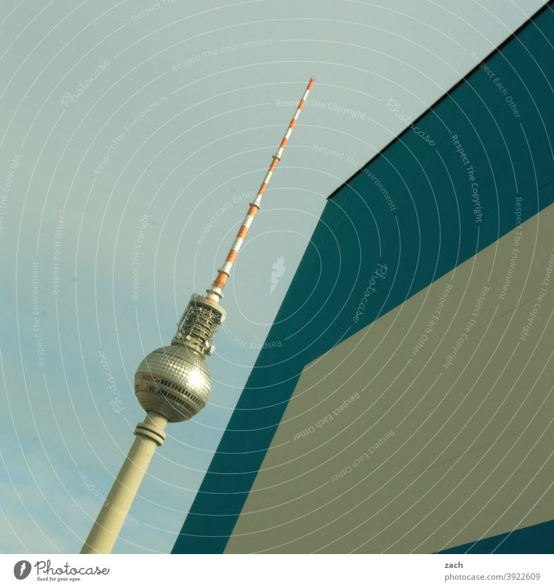 parallel universe Berlin TV Tower Television tower Architecture Hide Wall (building) Modern Town Diagonal Blue White Landmark Facade Monument Capital city Gray