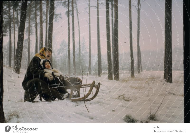 two-seater Girl Child Infancy Nature Scan Slide Analog Retro Winter Woman Mother Family & Relations Domestic happiness Winter vacation Forest Sledding Sleigh