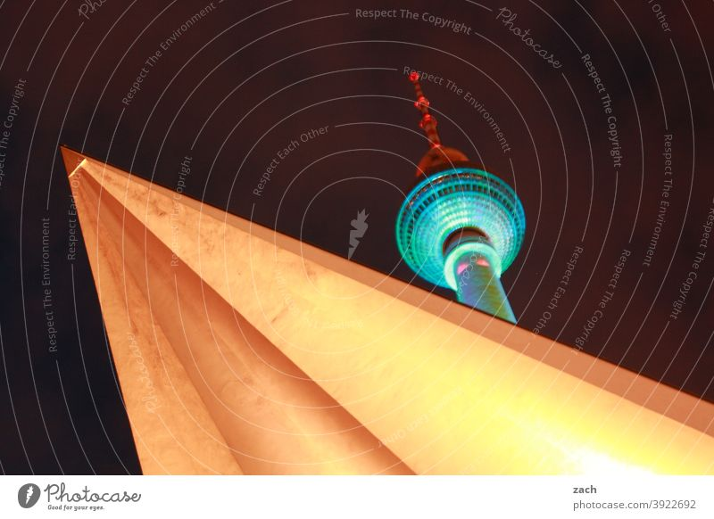 Big Lamp Berlin TV Tower Television tower Landmark Town Sky Capital city Night Long exposure Hiding place Hide Downtown Facade Tourist Attraction Tourism Tall