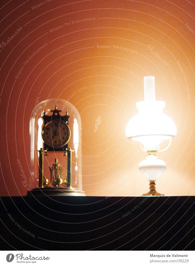 shortly after seven Clock Lamp Moody Historic Things kerosene lamp Evening Isolated Image Objectivity Bright background Old fashioned Ancient Antique