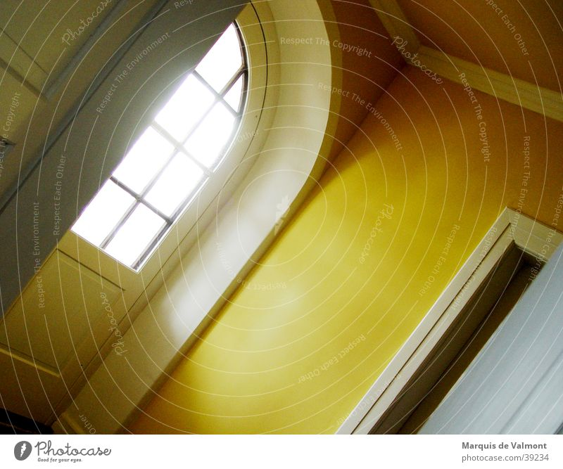 The way to light Window Lattice window Shaft of light Light Hallway Yellow Arch Architecture Door Flare Perspective