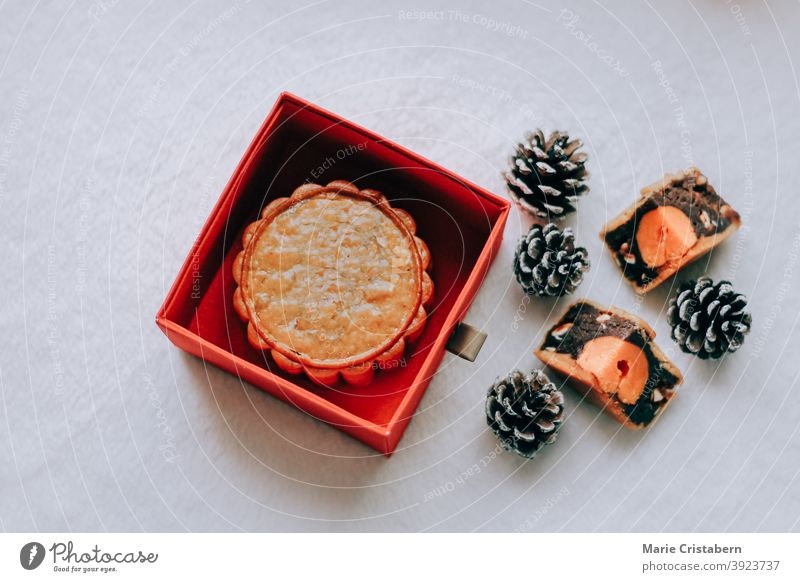 Traditional mooncake served during the Mooncake Festival or Mid-Autumn Festival Mid-autumn Festival top view September traditional traditional food
