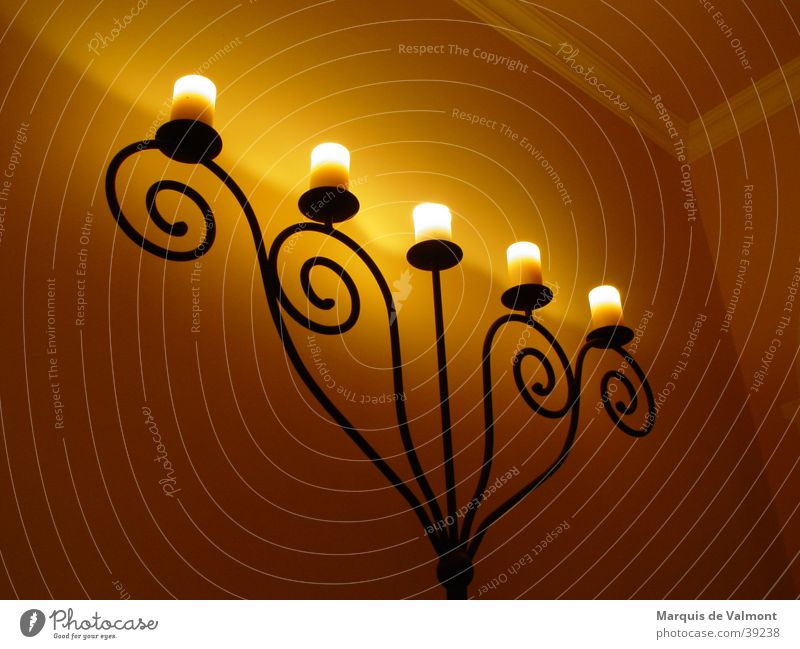 in the evening when the sun was asleep... Candlestick Candlelight Wrought iron Iron Ornament Snail Classic Old building Ambient Stucco Flat (apartment) Light