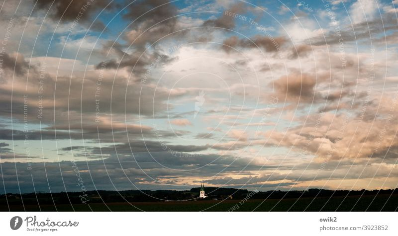 milestone Panorama (View) Church Church spire Dusk Cloud formation Colour photo Exterior shot Deserted Copy Space top Evening Twilight Contrast Shadow Sunset