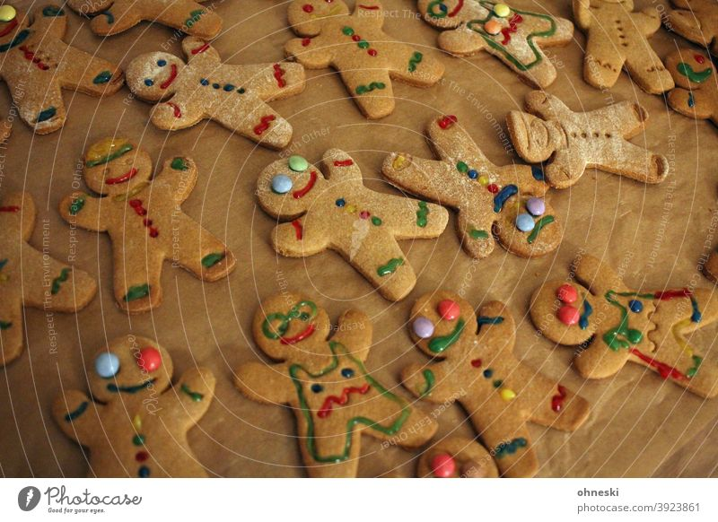 Gingerbread with colored icing Colour photo Baked goods Christmas & Advent biscuits Cookie Christmas biscuit Baking