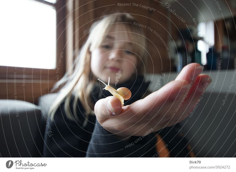 Blonde girl with babe on her hand Girl blonde hair Crumpet Face naturally Child Youth (Young adults) Long-haired Looking inquisitorial Observe monitoring Hand
