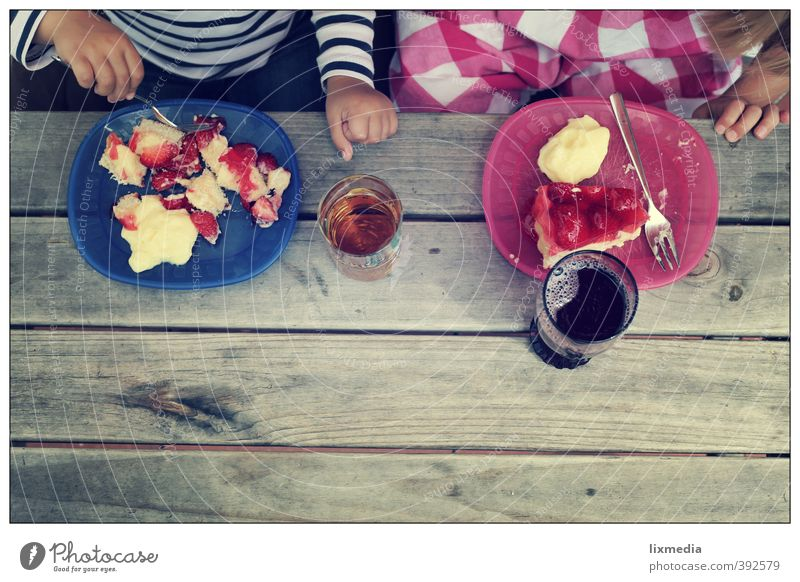 strawberry cake, in portions Human being Child 2 Eating Natural Blue Gray Pink Together Interest Infancy Colour photo Exterior shot Copy Space bottom