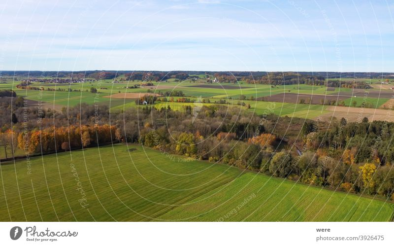 View from above on the autumnally leafy leaves and meadows of the flood plains near Hiltenfingen Area flight Autumn Panorama aerial view beautiful
