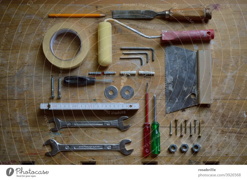 Order in chaos   Tools on the construction site tools workbench labour Construction site Build Craft (trade) Craftsperson