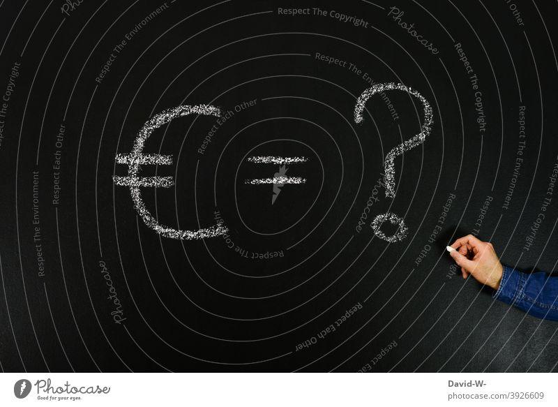 think about money Euro € Development ? Question mark Future Ask Money Poverty Financial Industry Economy corona Blackboard Chalk