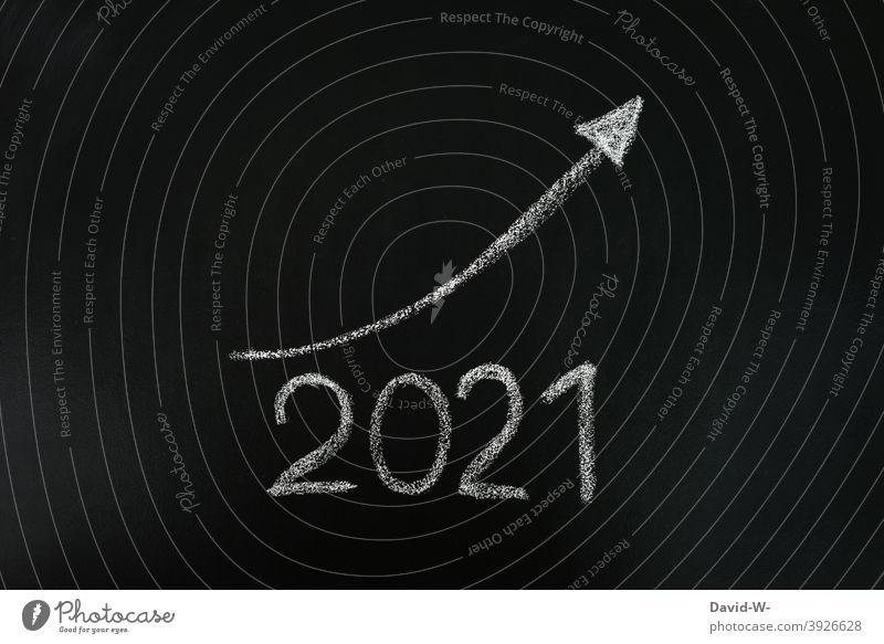 2021 will be better - improvement / Positive Success Optimism New Year Blackboard Chalk ascent Balance sheet Arrow Upward Target Improvement