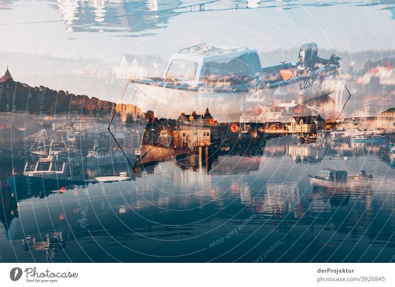 Multiple exposure in Oban/Scotland at sunrise with boats Free time_2017 Joerg farys theProjector the projectors Deep depth of field Sunrise Sunbeam Sunlight