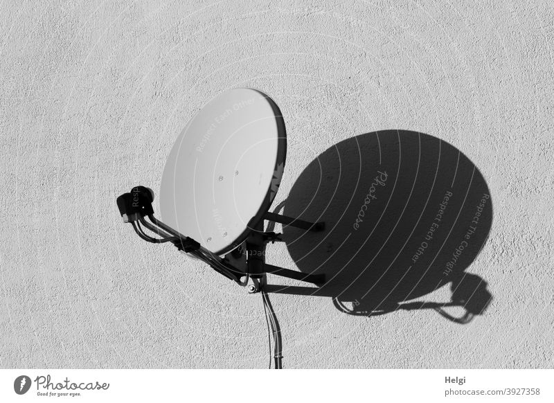 on reception - satellite dish in sunlight casts shadows on a white wall Satellite Dish Receive Light Shadow Wall (building) Exterior shot Deserted