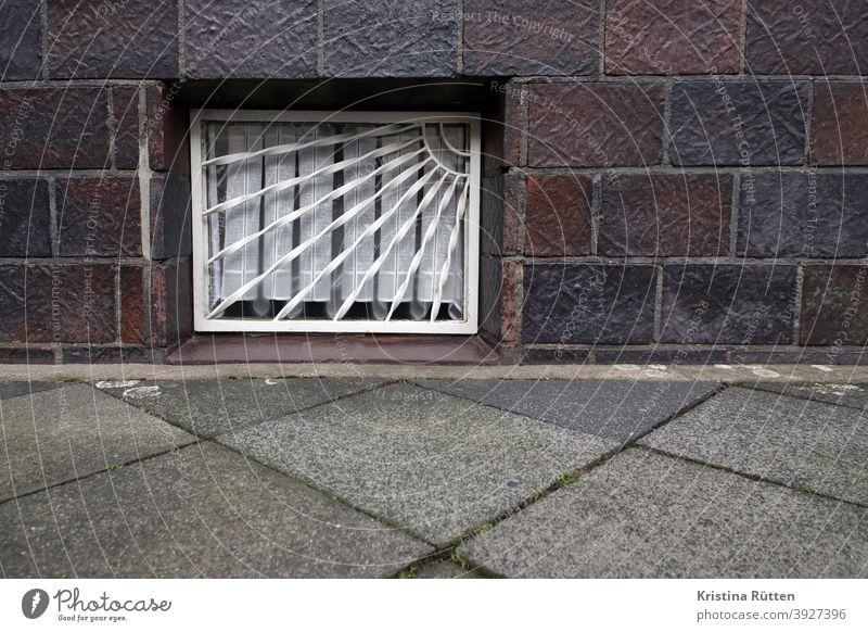 cellar window with grille Cellar window Window window grilles Grating latticed Curtain House (Residential Structure) Sidewalk off Facade Architecture Building