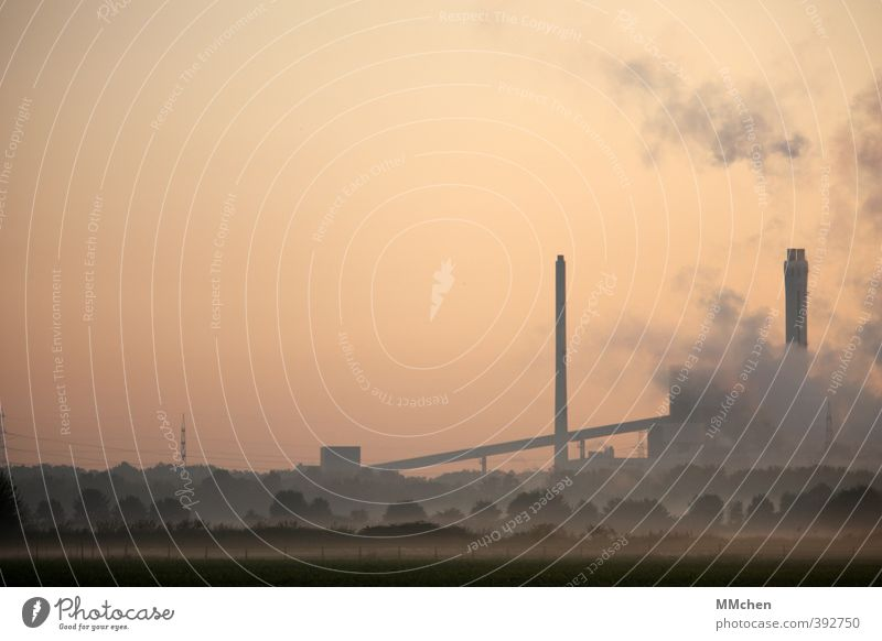 Industry Advancement Future Energy industry Energy crisis Landscape Cloudless sky Sunrise Sunset Climate change Field Industrial plant Chimney Smoking