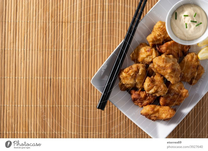 Spicy chicken karaage asian chopsticks cooked crispy cuisine delicious dinner dried eat fast fast food japanese japanese food lunch marinated mayonnaise meat