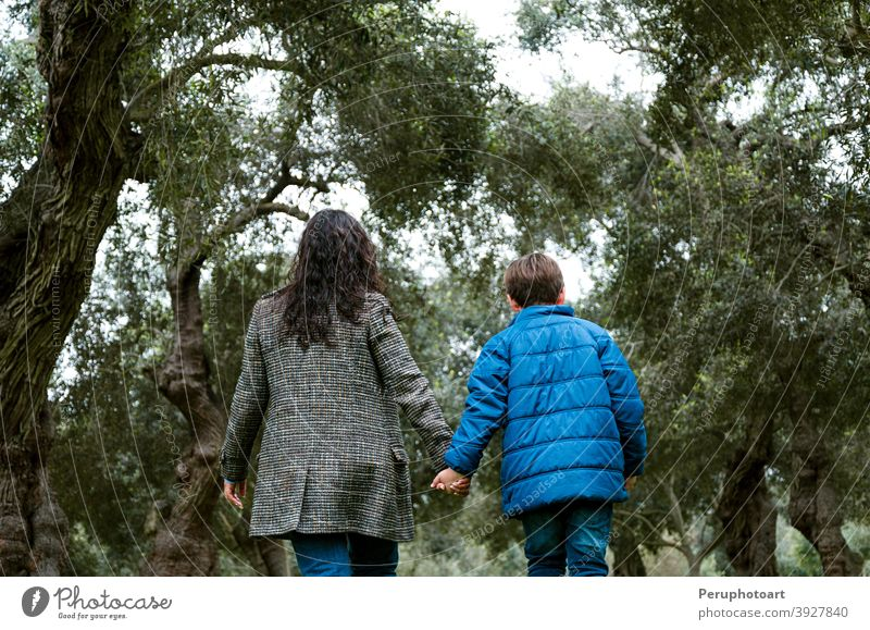 Mother and son holding hands walking in a park mom family child kid little mother together back childhood outdoor parent people lifestyle love boy woman young