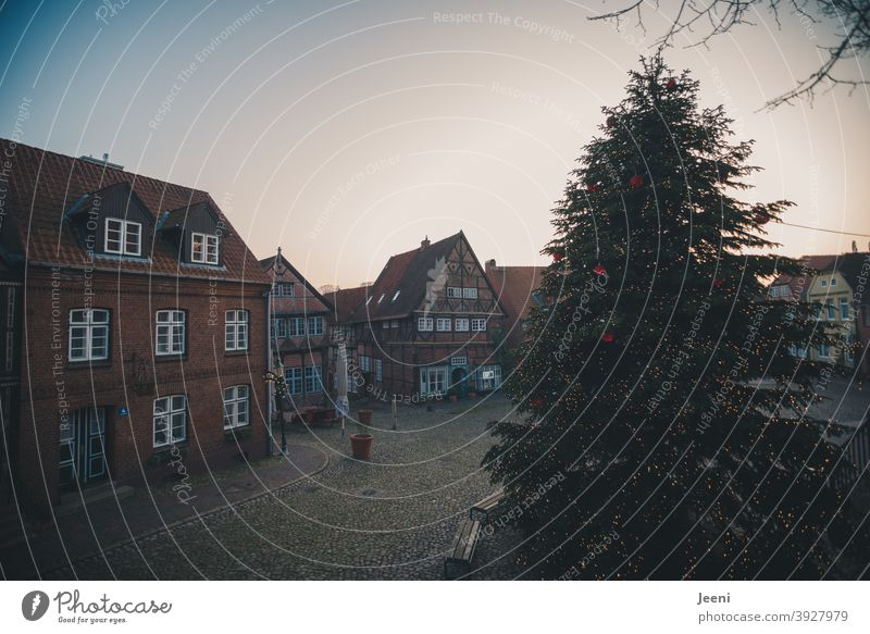 A deserted Christmas market with a beautiful big decorated Christmas tree | Christmas market 2020 | corona thoughts Large Markets Marketplace Christmas Fair
