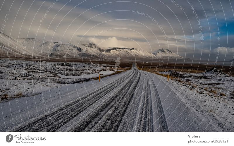 Road to 2021 Iceland Vacation & Travel naturally Landscape Frost Blue Deserted Mountain Nature infinitely Clouds Snow mountains Street Direct Frozen