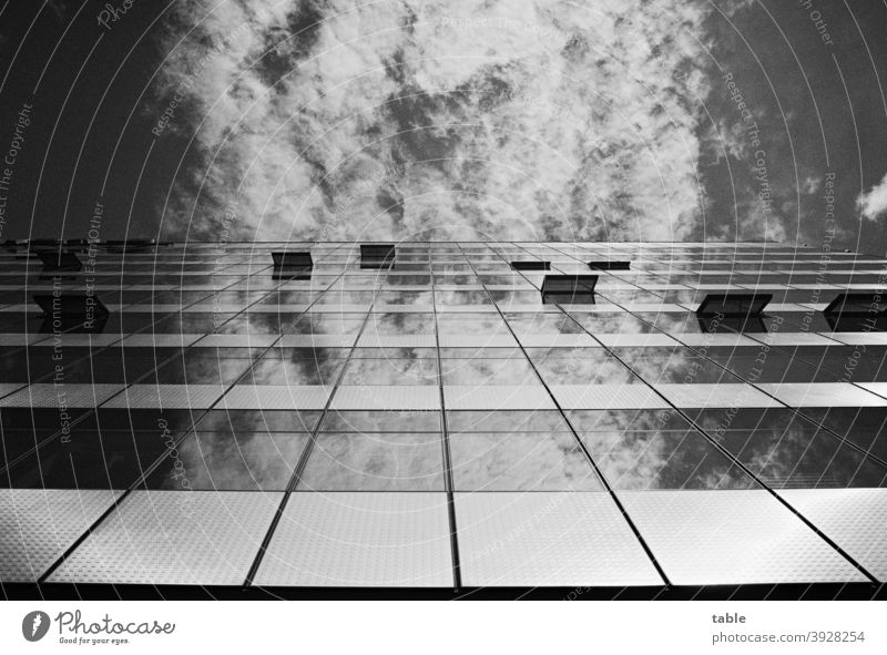 View upwards, blue sky and clouds reflected in glass facade Shadow Light Deserted Exterior shot Analog movie Change Competition Beginning Build Steel Concrete