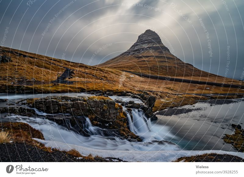 Iceland pure nature Snæfellsnes Kirkjufell's fossil Waterfall Mountain Sukkurtoppen Volcano Long exposure Discover Clouds mountains Frozen Nature Deserted Blue