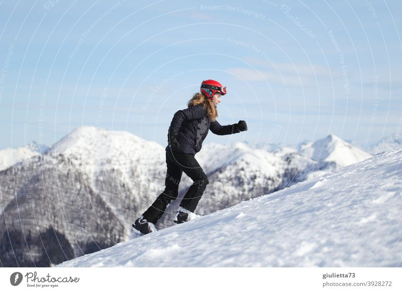 Happy New Year! |Sporty young woman hikes full of verve up the mountain portrait Looking away Profile Full-length Central perspective Sunbeam Sunlight Day