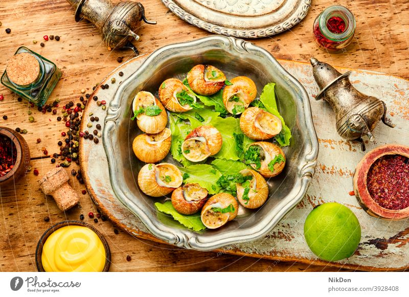 Bourgogne escargot snails shell food bourgogne snails mollusk mollusks french snails snails food stuffed snails eat meal cooked cuisine dish appetizer delicacy