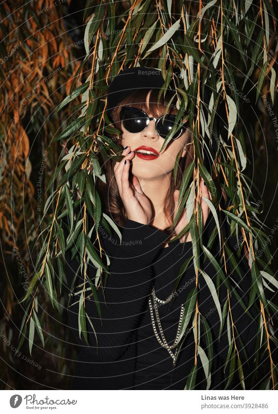 This gorgeous brunette girl with sunglasses was shot during a perfect autumn afternoon. She is dressed in black and obviously has a taste for fashion. Red lips are matching well yellow autumn leaves.