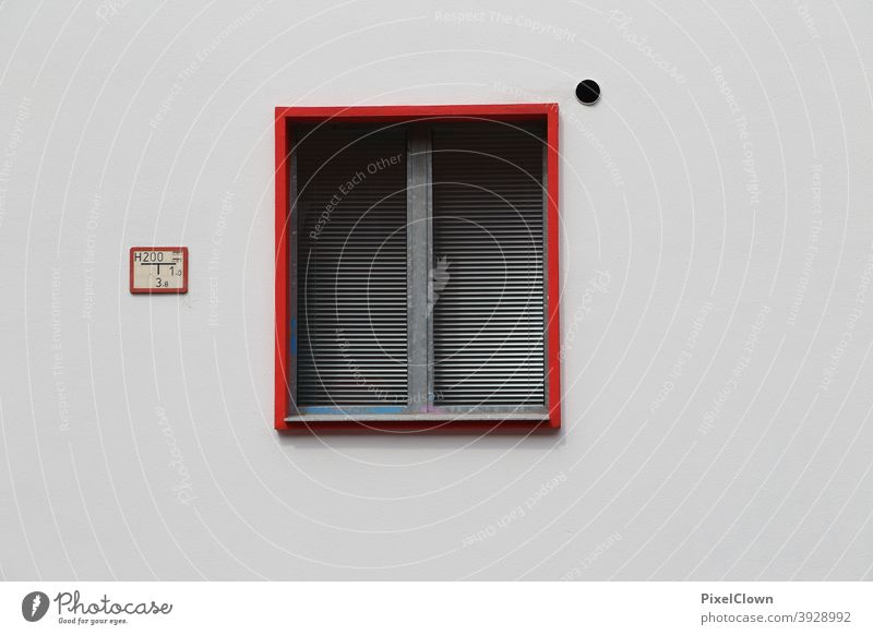 Window with curtain Facade Building House (Residential Structure) Deserted Wall (barrier) Colour photo Exterior shot Gloomy Town Red, window frame