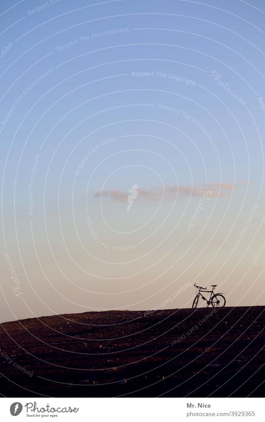 Mountain - Bike Bicycle Mountain bike Hill Silhouette Extreme sports Sports Cycling Leisure and hobbies Beautiful weather Fitness Athletic Sunlight Nature