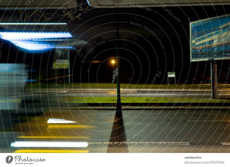 bus stop Bus Evening Train station Berlin Movement blink Bus stop Dynamics fantasy Art Light Visual spectacle light track Line Fairy tale Night at night Nature