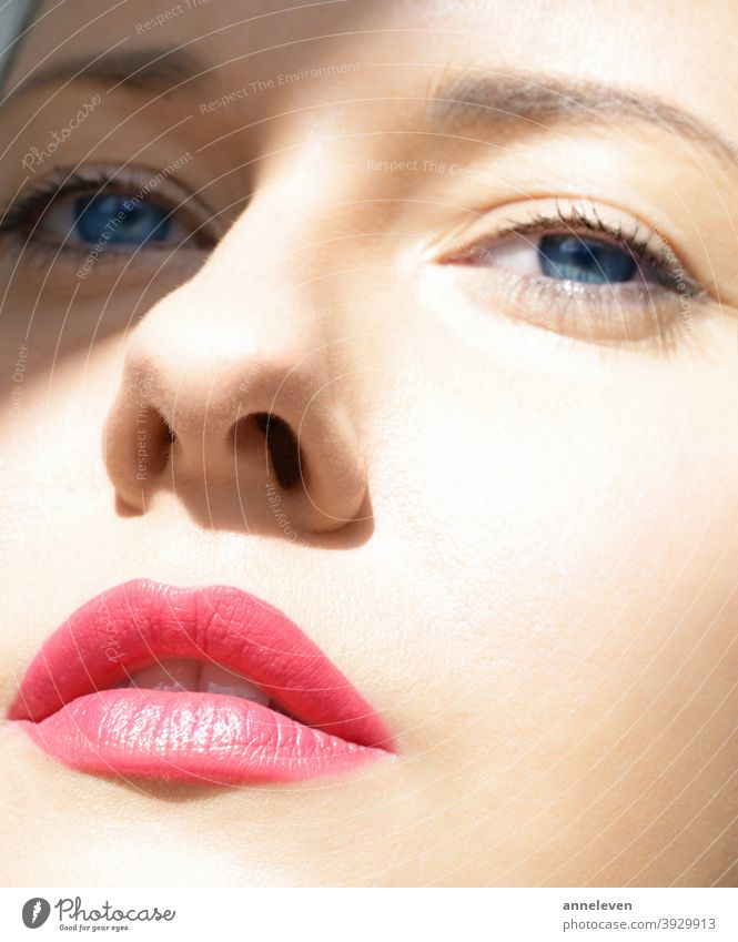 Beauty face closeup, red lipstick makeup look and perfect skin, beautiful model woman 30s adult attractive beauty blue brand brunette campaign care caucasian