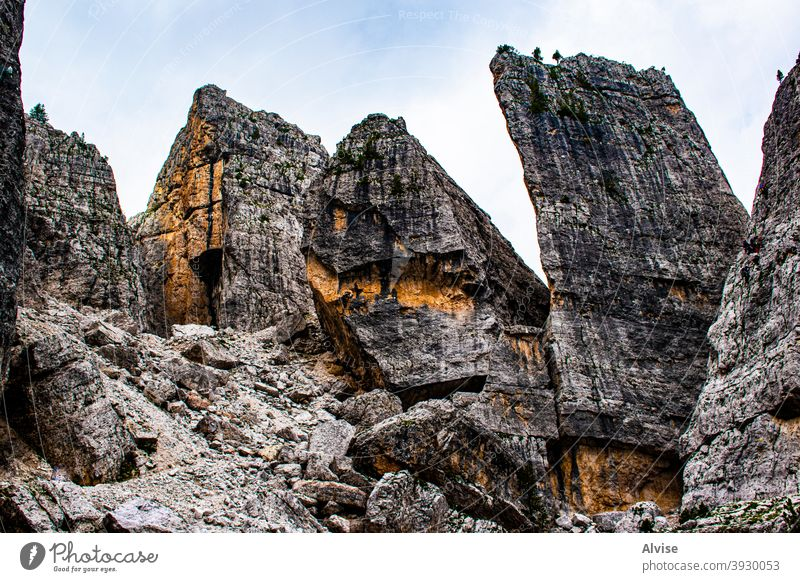 The Cinque Torri in the Dolomites four tourism dolomite italy outdoor peak mountain europe mountaineering landscape massive heritage activity trail summer