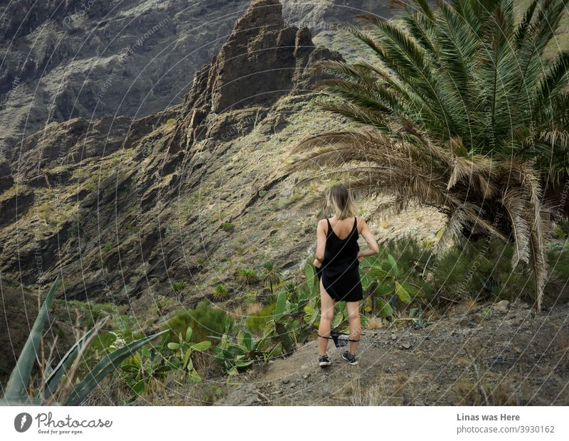 Lost girl in these mountains which looks (and actually is) like Masca in Tenerife. Massive rocks, green palm leaves, spiky cactuses, oh, and black panties. Wild girl in this wild terrain.