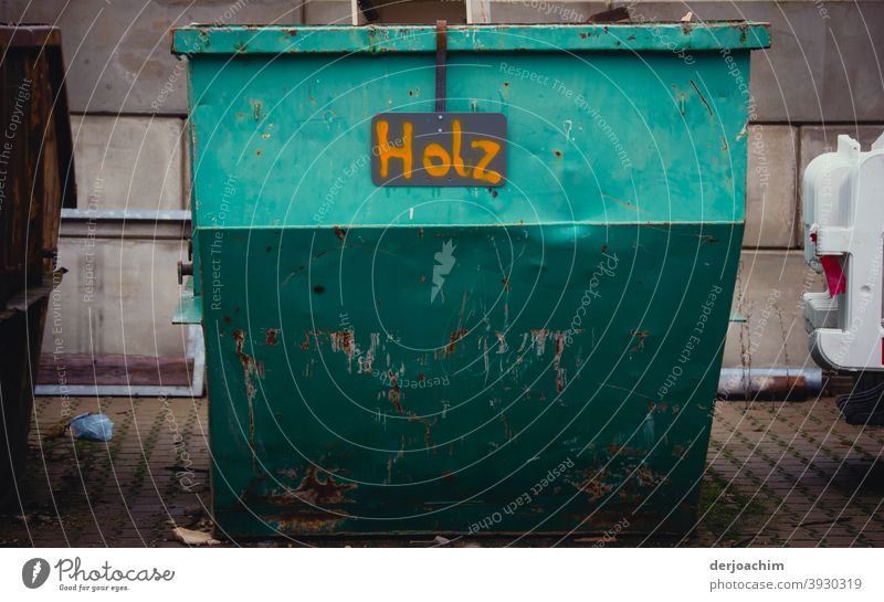 Metal container for wood only. - No metal Container Colour photo Day Deserted Exterior shot Old Digits and numbers Signs and labeling Detail Characters Rust