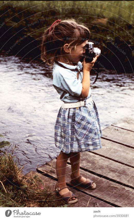 Up-and-coming artist Girl Child Infancy Nature Scan Slide Analog Photography Camera Take a photo Photographer photographer camera Leisure and hobbies Retro