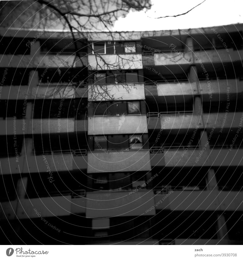 neighborhood Lomography Scan Holga Double exposure Town Analog Slide Analogue photo House (Residential Structure) Gray Balcony