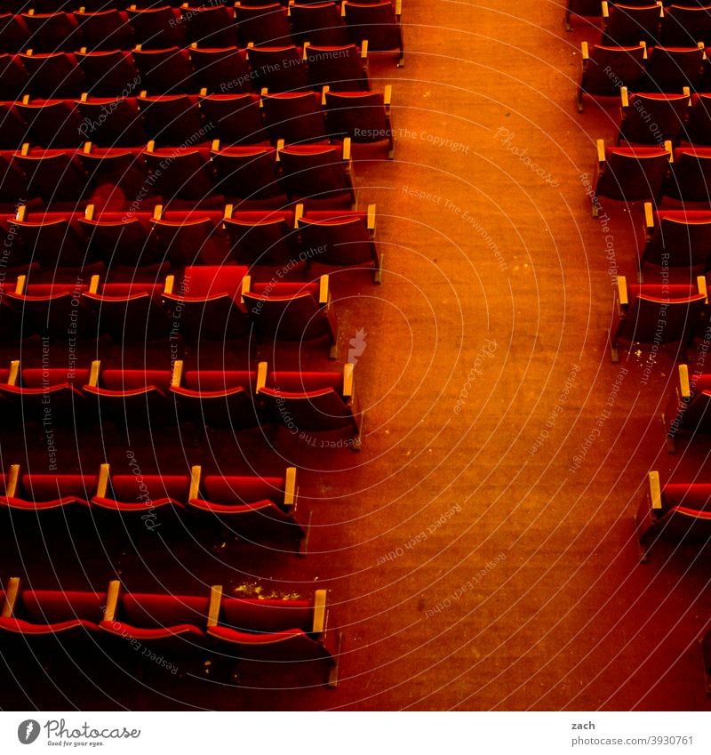 systemically relevant I Culture Art Theatre Cinema Movie hall Movie theater seat theatre hall Audience Empty Old Ruin Broken Red Row of seats Armchair