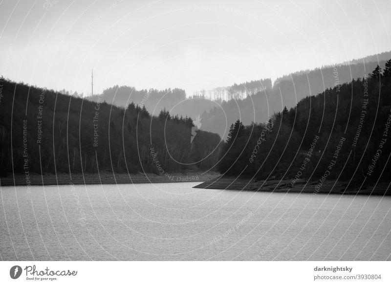 Bigge Lake during the cold season in winter or autumn bigge River dam Biggesse Biggetal Dam panorama Forest Water Sauerland # #Sauerland silent Nature