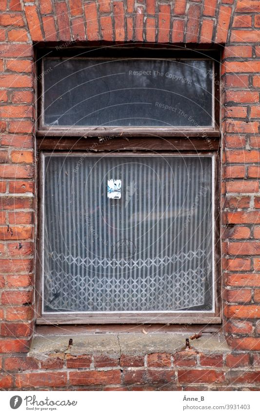 Exit - window with old curtain old window Window Window pane brick Brick forsake sb./sth. Forget Fleeting Escape Curtain curtains Glass Architecture