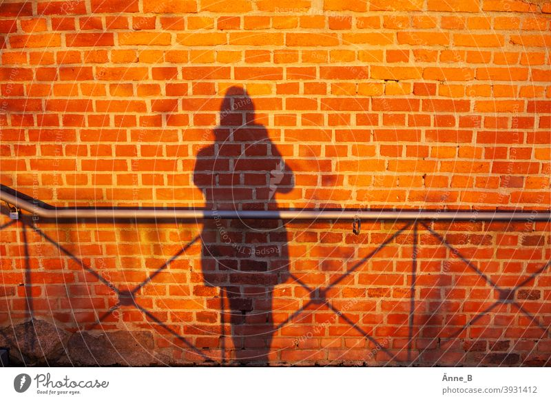 My shadow and a wall - brick, shadow and railing Brick Brick wall bricks Red Wall (building) Wall (barrier) Building stone Shadow Silhouette fiery red