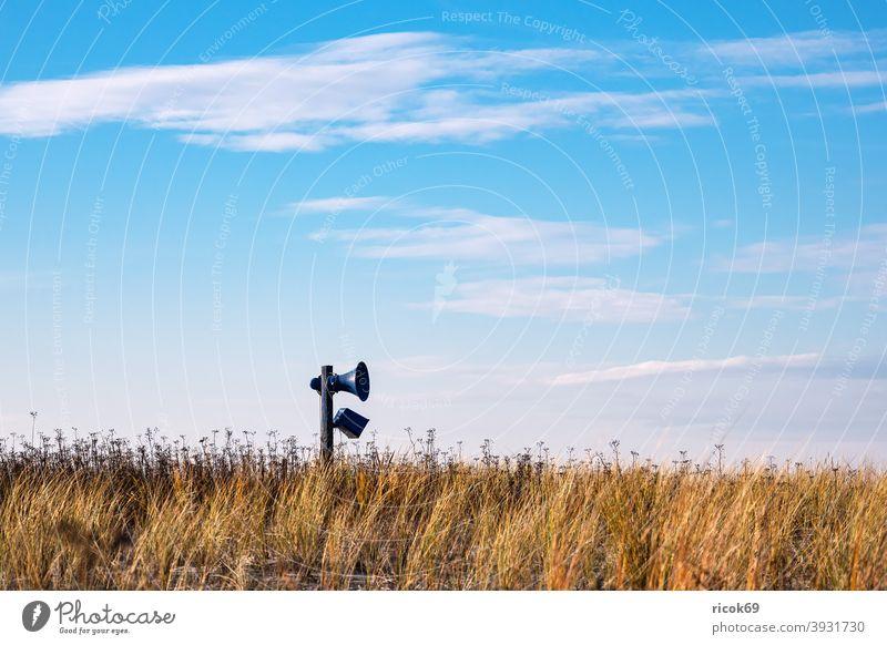 Loudspeaker in the dunes at the Baltic Sea coast in Graal-Müritz graal müritz Baltic coast Ocean Beach duene Marram grass Sky Clouds Blue