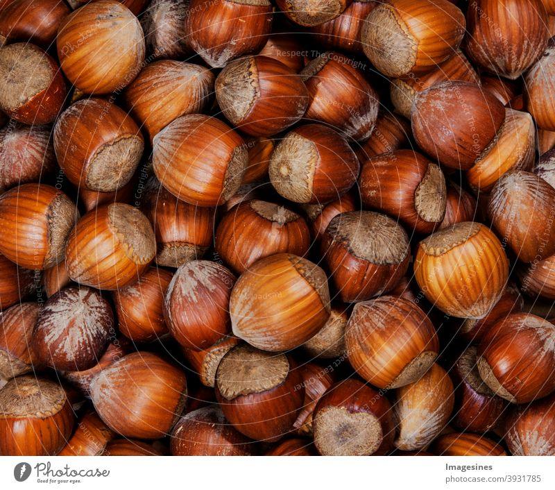whole organic hazelnuts. Top view autumn texture background. Harvest, autumn. Food ingredient hazelnuts background, detailed close up. Abstract Autumn