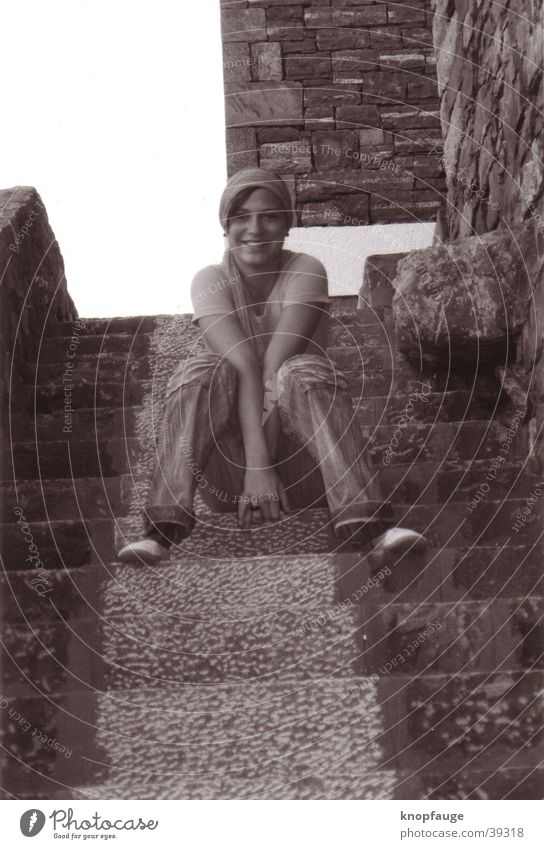 step grinser Woman Headscarf Rag Stairs Black & white photo Laughter